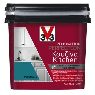 Χρώμα Νερού Ανακαίνισης Κουζίνας V33 RENOVATION PERFECTION KITCHEN 0,75LT Petrol Blue