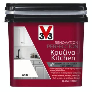 Χρώμα Νερού Ανακαίνισης Κουζίνας V33 RENOVATION PERFECTION KITCHEN 0,75LT White