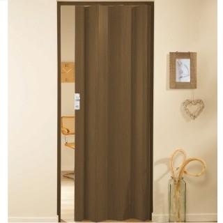 Μονόφυλλη πτυσσόμενη πόρτα πλαστική Zitaflex Χρώμα Ξύλου Μαόνι 17 χωρίς τζαμάκι
