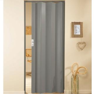 Μονόφυλλη πτυσσόμενη πόρτα πλαστική Zitaflex Μονόχρωμη Γκρί 23A χωρίς τζαμάκι