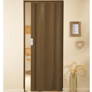 Μονόφυλλη πτυσσόμενη πόρτα πλαστική Zitaflex Χρώμα Ξύλου καρυδιά 12 χωρίς τζαμάκι