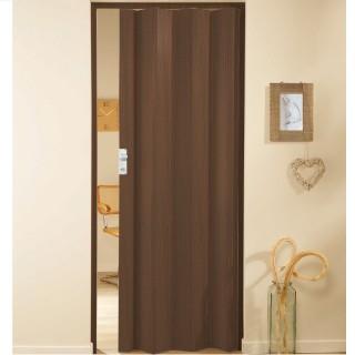 Μονόφυλλη πτυσσόμενη πόρτα πλαστική Zitaflex Χρώμα Ξύλου Καρυδιά Σκούρο 14 χωρίς τζαμάκι
