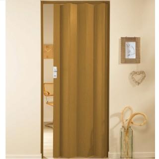 Μονόφυλλη πτυσσόμενη πόρτα πλαστική Zitaflex Χρώμα Ξύλου Δρύς Σκούρο 25 χωρίς τζαμάκι