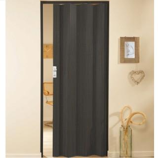 Μονόφυλλη πτυσσόμενη πόρτα πλαστική Zitaflex Χρώμα Ξύλου Μαύρο Δρύς 18 χωρίς τζαμάκι
