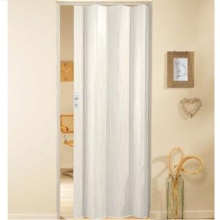 Μονόφυλλη πτυσσόμενη πόρτα πλαστική Zitaflex Χρώμα Ξύλου Λευκό Δρύς 19 χωρίς τζαμάκι