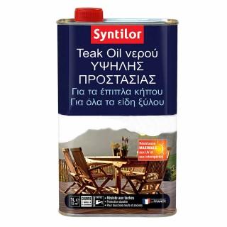 Teak Oil Νερού Ματ Άχρωμο για έπιπλά και είδη κήπου SYNTILOR – HUILE ULTRA PROTECT TEAK OIL 1L