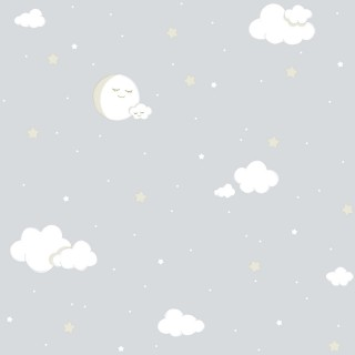 Παιδική ταπετσαρία τοίχου Γκρί με Σύννεφα - Αστέρια - Σελήνη Διάσταση Ρολού ( 1000 × 53 cm) 221-3