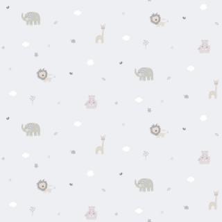 Παιδική ταπετσαρία τοίχου Γκρί με Ζωάκια Διάσταση Ρολού ( 1000 × 53 cm) 222-2