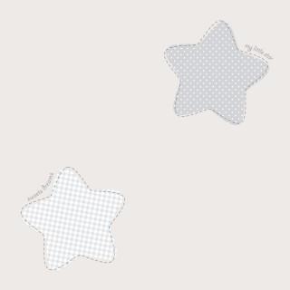 Παιδική ταπετσαρία τοίχου Γκρί με Κλωστοϋφαντουργικά αστέρια Διάσταση Ρολού ( 1000 × 53 cm) 224-3