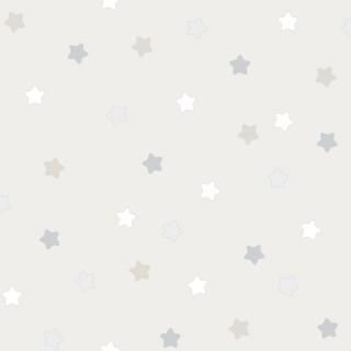 Παιδική ταπετσαρία τοίχου Γκρί με Χρωματιστά αστέρια Διάσταση Ρολού ( 1000 × 53 cm) 225-4
