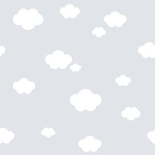 Παιδική ταπετσαρία τοίχου Γκρί με Συννεφάκια  Διάσταση Ρολού ( 1000 × 53 cm) 587-3