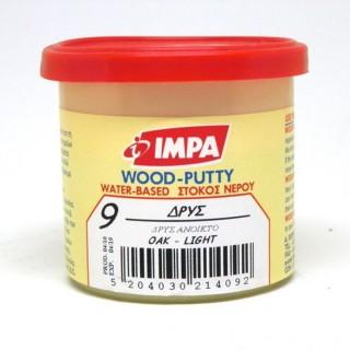 Ξυλόστοκος Νερού Νο9 Χρώμα Δρύς Ανοιχτό για διόρθωση ελλατωματικών σημείων του ξύλου 200gr- Impa