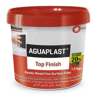 Στοκος Έτοιμος Λεπτόκοκκος Ακρυλικός AGUAPLAST TOP FINISH σε χρώμα Λευκό 1Kg+20% 888884 beissier