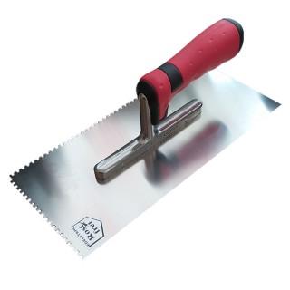 Σπάτουλα με Δόντια 3mm ΜΥΣΤΡΙ ΙΝΟΧ με πλαστική Κόκκινη Λαβή Rost Frei C3 28cm μήκος