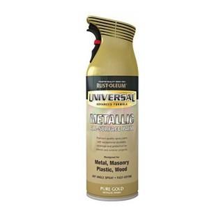 Χρώμα Μεταλλικό σε Σπρέι που ψεκάζει και Ανάποδα Universal Pure Gold Metallic Finish Rust-Oleum 400ml