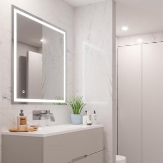 Καθρέφτης μπάνιου Hercules Emuca με φωτισμό LED στο πλαίσιο - διακοσμητικό οπίσθιο φωτισμό και διακόπτη αφής 60x80cm 5148320