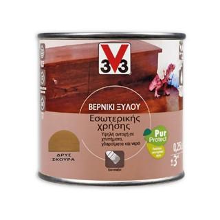 Βερνίκι ξύλου Εσωτερικής Χρήσης Υψηλής Αντοχής V33 PUR PROTECT Σατινέ Δρύς Σκούρα Κ651 250ml