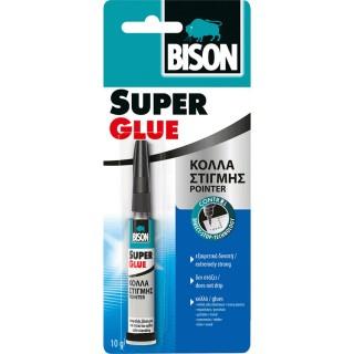 Κόλλα Στιγμής εξαιρετικά δυνατή με Έξυπνο δοχείο που στέκεται όρθιο για ακριβής κόλληση SUPER GLUE POINTER Bison 10ml