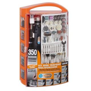 Πολυεργαλείο MINI DRILL ΚΙΤ με 350 εξαρτήματα PG135W με πλαστικό Βαλιτσάκι και Ελαστική Προέκταση Κεφαλής 110cm PG Tools