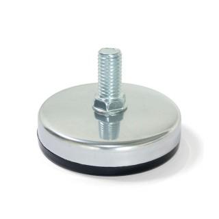 Πόδι μεταλλικό  ρυθμιζόμενο για έπιπλα M10 Στρογγυλό Ø 60 με αντιολισθητικό λάστιχο σε ματ χρώμιο Emuca 3057564