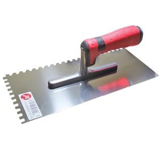 Σπάτουλα με Δόντια 6mm ΜΥΣΤΡΙ ΙΝΟΧ με πλαστική Κόκκινη Λαβή Pajarito 5093RZ/2/C2 28cm μήκος