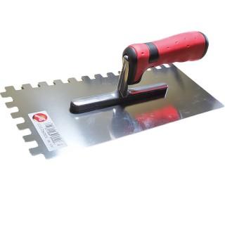 Σπάτουλα με Δόντια 10mm ΜΥΣΤΡΙ ΙΝΟΧ με πλαστική Κόκκινη Λαβή Pajarito 5093RZ/2/C5 28cm μήκος