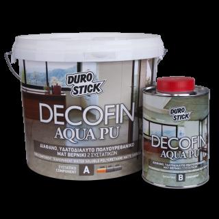 Διάφανο, υδατοδιαλυτό, πολυουρεθανικό ματ βερνίκι 2 συστατικών Decofin Aqua PU 1KG Durostick