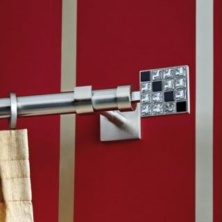 Kουρτινόξυλο Aslanis Φ25 Puzzle Νίκελ Σατινέ με Κρύσταλλα Swarovski