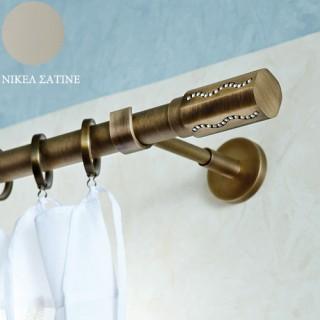 Kουρτινόξυλο Aslanis Φ25 Queen Νίκελ Σατινέ με Κρύσταλλα Swarovski