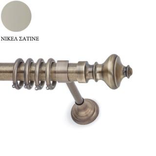 Μεταλλικό Kουρτινόξυλο Ανάρτηση Φ35 Fiore Νίκελ Σατινέ
