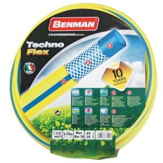 Λάστιχο Ποτίσματος Κίτρινο Techno Flex 1/2″ με επίστρωση 3 Υλικών 15m Benman 77150