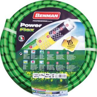 Λάστιχο Ποτίσματος Πράσινο PowerFlex 1/2″ με επίστρωση 6 Υλικών 15m Benman 77170
