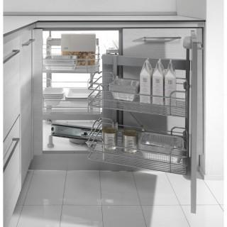 Μηχανισμός κουζίνας Magic corner με φρένο Inoxa 803B DX για Τυφλό 90cm (45cm Πόρτα) με συρμάτινα καλάθια δεξί άνοιγμα