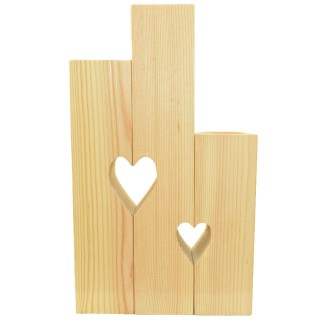 Διακοσμητικό Κηροπήγιο (ρεσώ) απο μασίφ Σουηδικό Ξύλο 30 x 18 cm τριπλό με καρδιές