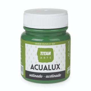 Χρώμα Νερού Σατινέ για Ζωγραφική & Χειροτεχνίες Aqualux Titan Arts Satinado 100ml Verde Oliva No807