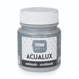 Χρώμα Νερού Σατινέ για Ζωγραφική & Χειροτεχνίες Aqualux Titan Arts Satinado 100ml Gris Plata No843
