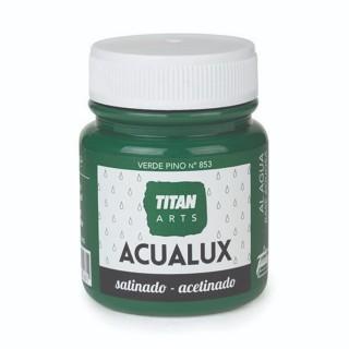 Χρώμα Νερού Σατινέ για Ζωγραφική & Χειροτεχνίες Aqualux Titan Arts Satinado 100ml Verde Pino No853