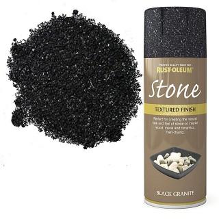 Χρώμα σε Σπρέι για την δημιουργία εφέ Αληθινής Πέτρας σε Black Granite υφή Rust-Oleum Stone 400ml