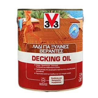 Λάδι DECKING OIL Δαπέδου και Περίφραξης V33 2,5lt Teak
