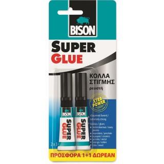 Κόλλα στιγμής Ρευστή extra power 1+1 Δώρο super glue Bison 3g