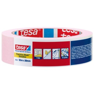 Χαρτοταινία μασκαρίσματος ροζ για ευαίσθητες επιφάνειες πλάτους 30 χιλιοστών 50 μέτρα tesa ®