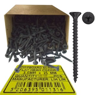 Νοβοπανόβιδες 3,5mm πάχος και 25mm μήκος Μαύρες φρεζάτες LIH-LIN σε συσκευσίες των 100 ή 200 ή 400 ή 500 ή 1000τεμ.