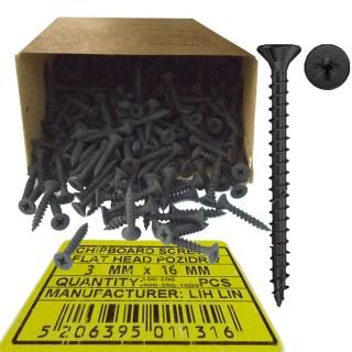Νοβοπανόβιδες 3mm πάχος και 16mm μήκος Μαύρες φρεζάτες LIH-LIN σε συσκευσίες των 100 ή 200 ή 400 ή 500 ή 1000τεμ.