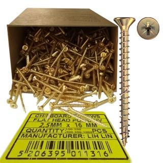 Νοβοπανόβιδες 2,5mm πάχος και 16mm μήκος Χρυσές φρεζάτες LIH-LIN σε συσκευσίες των 100 ή 200 ή 400 ή 500 ή 1000τεμ.