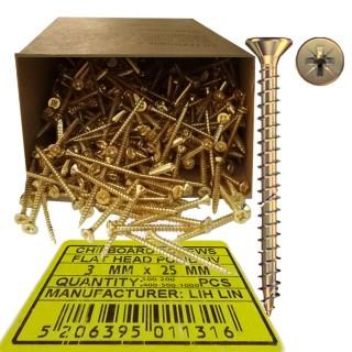 Νοβοπανόβιδες 3mm πάχος και 25mm μήκος Χρυσές φρεζάτες LIH-LIN σε συσκευσίες των 100 ή 200 ή 400 ή 500 ή 1000τεμ.