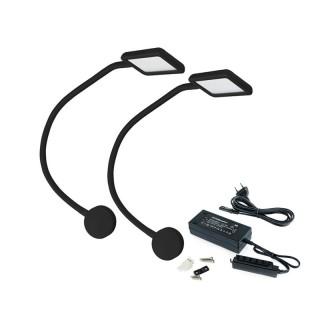 Εύκαμπτο Φωτιστικό (διαβάσματος) Kuma Square Emuca Μαύρο 5029417 με 2 ενσωμετωμένες θύρες USB και διακόπτη αφής (2 Λυχνίες και Μετασχηματιστής)