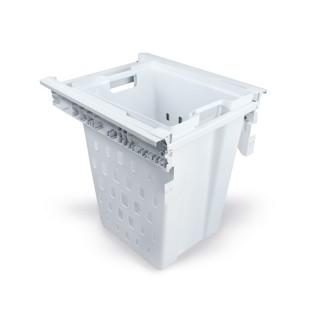 Συρόμενο λευκό καλάθι απλύτων με φρένο Emuca 8500215 45cm Πλάτος - 50cm Βάθος
