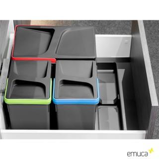 Σετ Δοχείων απορριμάτων Νεροχύτη Emuca 8196923-8197823 για κουτί 60cm