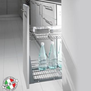 Συρμάτινο βαγονέτο κουζίνας διώροφο με Μπουκαλοθήκη Inoxa 102R με απλό  οδηγό ροδάκι χωρίς Φρένο