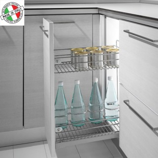 Συρμάτινο βαγονέτο κουζίνας διώροφο Μπουκαλοθήκη Inoxa 2102 Με Φρένο